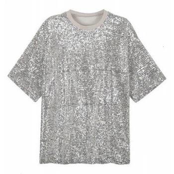 fashionable patterns details for choose best New Look Fashion Cheap Bulk Silver Polyester Short Sleeve Back Zipper Loose  Metallic Custom Sequin T Shirts - Buy Custom Sequin T Shirts,New Look ...