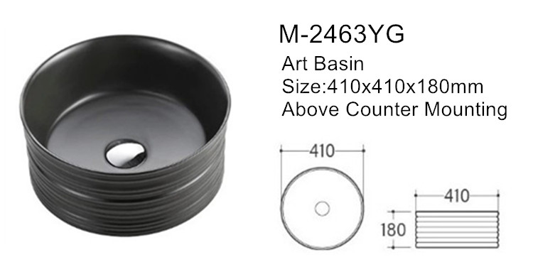 Matte black bathroom ceramic relief round circular wash art basin for sale