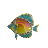 Liffy Metal With Glass 14 Inch Colorful Fish Wall Art Decoration
