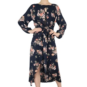 Latest Long Sleeve Bohemian Floral Print Maxi Dress Woman Clothing