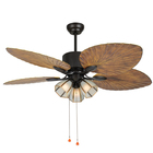 Veinto Vento Powerful Large Beautiful Tropical Bigpalm Ceiling Fan Palm Blade And Lamp For Vietnam Restaurant
