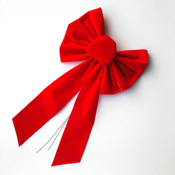 "Christmas Tree Wreath Gift Wrapping Decoration Red Flocked Velvet Plastic Ribbon Bow Tie with Gold Edge Trim  10"" X 18"""