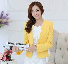 Модный простой блейзер Feminino, приталенное с длинными рукавами, с карманом, белый, черный, блейзер для женщин, повседневный элегантный тонкий ...(Китай)