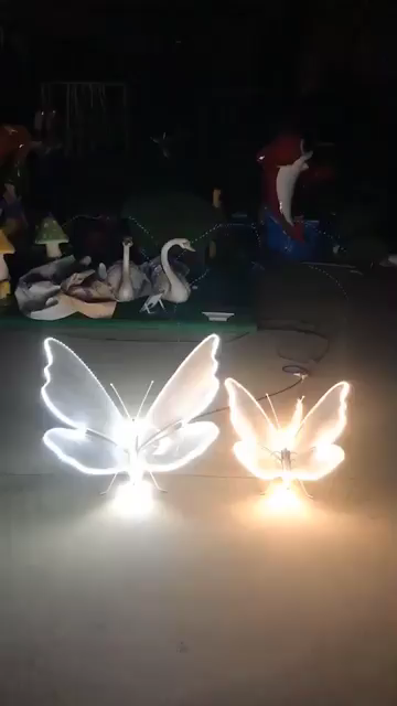 Stainless Steel Butterfly Sculpture With Lights For Garden Decoration