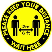 5pcs/set Keep Your Distance Vinyl Sticker 2m 6ft Social Distancing Floor Decal