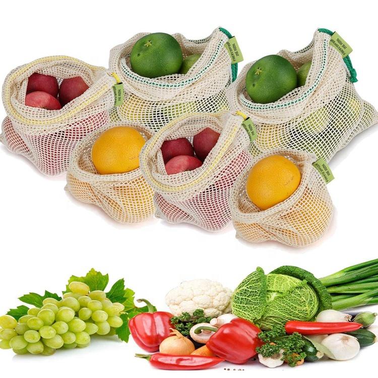 Многоразовые биоразлагаемые сетчатые мешки, экологически чистые продукты для хранения фруктов