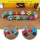 Train Train Wholesale Funny Wooden Cartoon Train Set Wooden Mini Pull Along Train Set For Toddlers