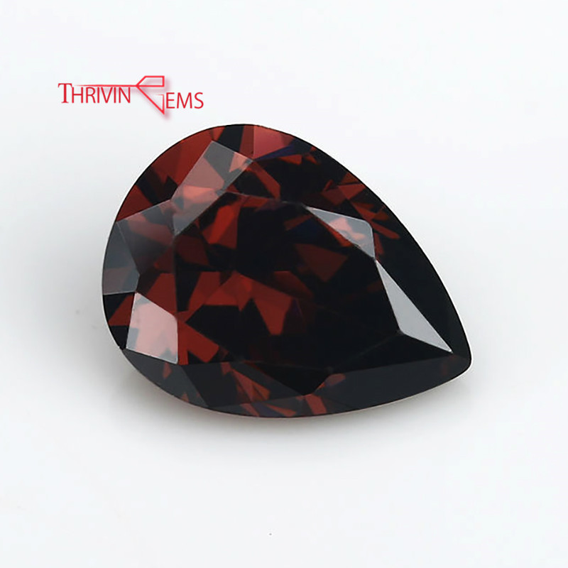 Thriving Gems Synthetic Rhodolite Color <strong>Pear</strong> 1 carat cubic <strong>zirconia</strong> For jewelry