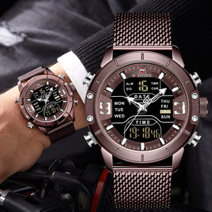 NAVIFORCE 9153 Sports Watch Men Top Brand Luxury Army Military Stainless Steel Mesh Mens Wristwatch Waterproof Digital Quartz