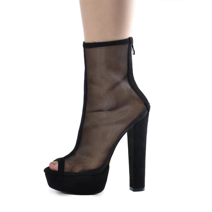 Mesh Peep Toe Platform Chunky High Heel Women's boots ladies shoes