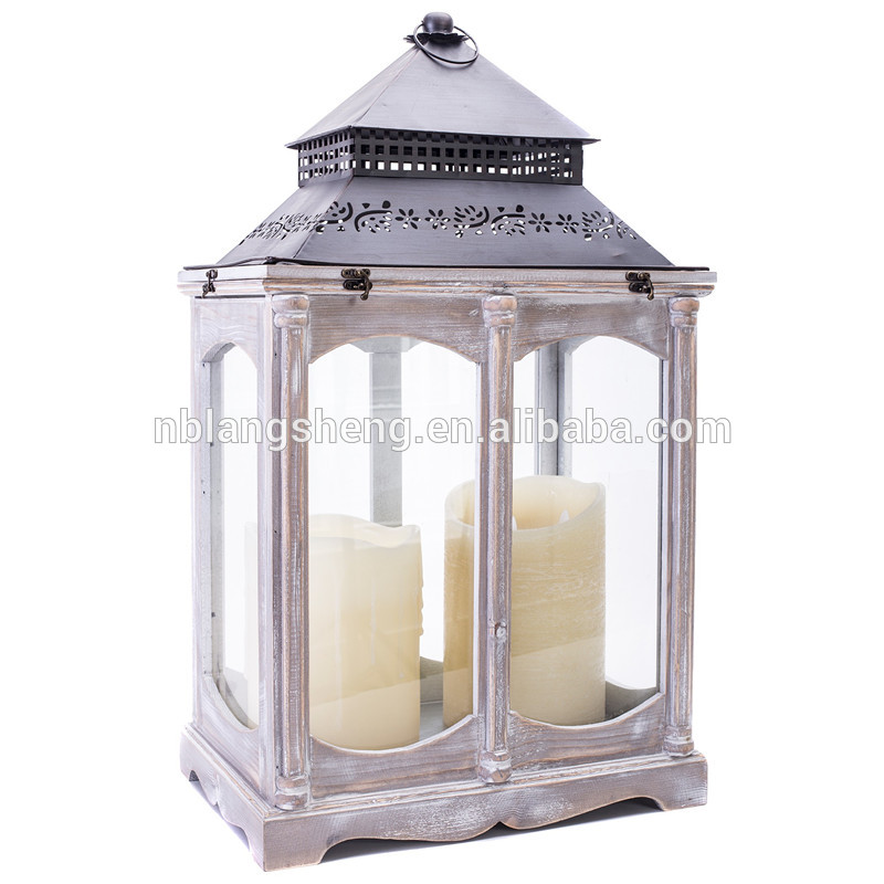 Good Quantity big garden wooden wood antique candle holders lamp lanterns
