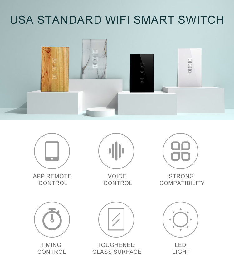 Factory Hot Sale Amazon Alexa Google Assistant Wifi Smart Switch