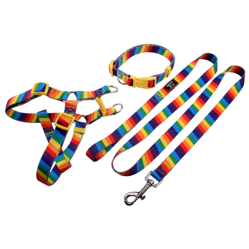 Puppy Cat Pet Dog Harness Leash Collar Set Polyester Dog Chest Straps Accessories Free Sample Wholesale