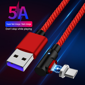 Newest 90 degree Charging cable Micro Usb 5A Data Charger Cable Magnetic usb cable data line 5A fast charging