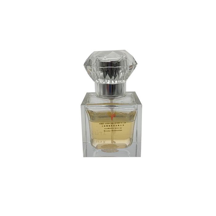 Alloy Luxury Unique Square Transparent Perfume Glass Bottle 54ml