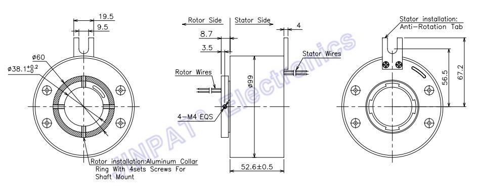 建設機械のための直径38.1mmのロータリージョイントのスリップ リング6回路15A 240VAC
