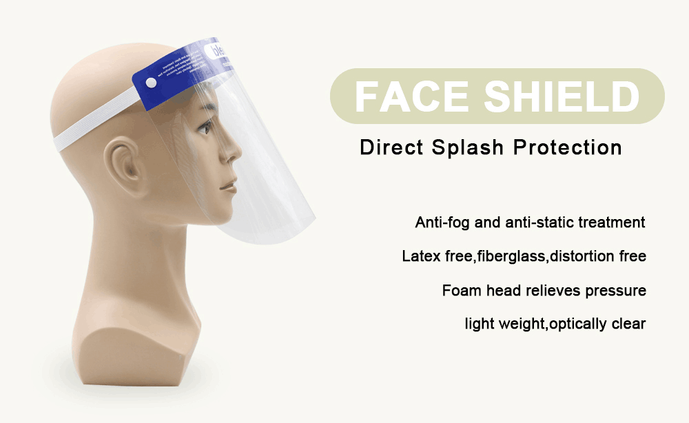 Factory Wholesale Plastic Safety Protective Full Face shield with CE FDA certificate