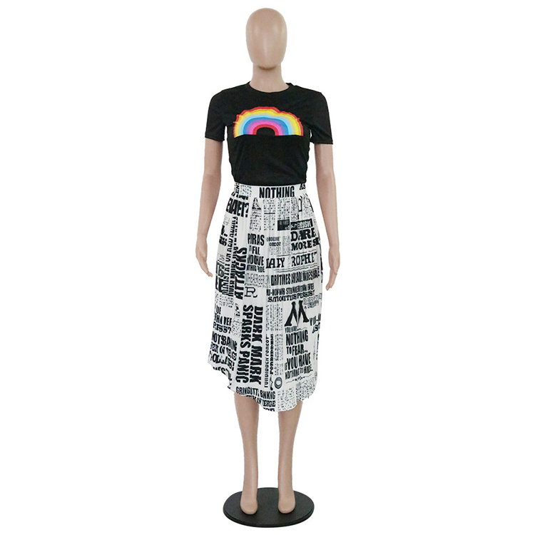2019 Hot Sale Simple Rainbow T-Shirt Top And Newspaper Printed Pleated Skirt Set Two Piece Set Women Clothing