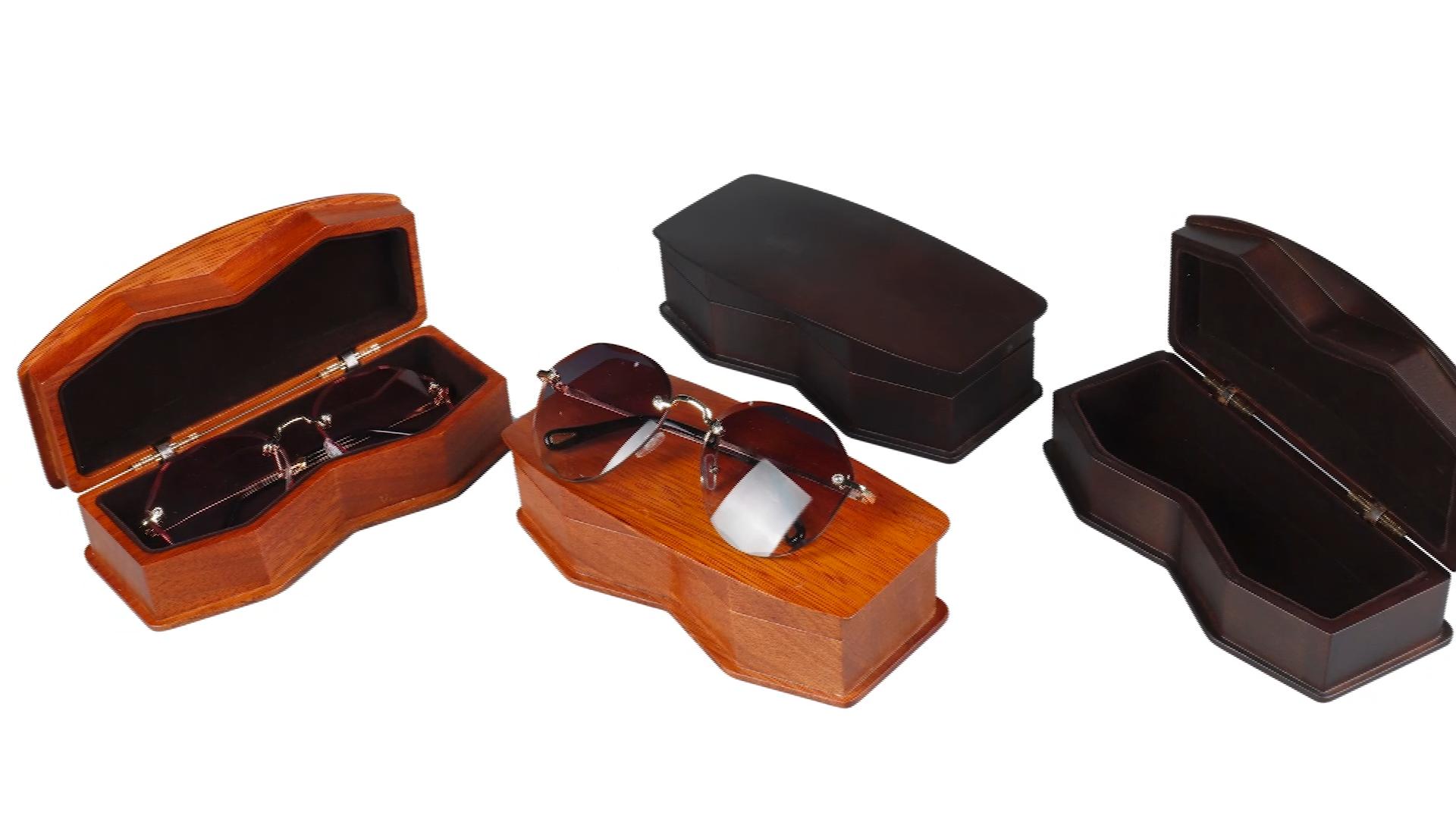 Yeni zanaat özel düzensiz şekil maun katı ahşap tek güneş gözlüğü ambalaj ahşap kutu