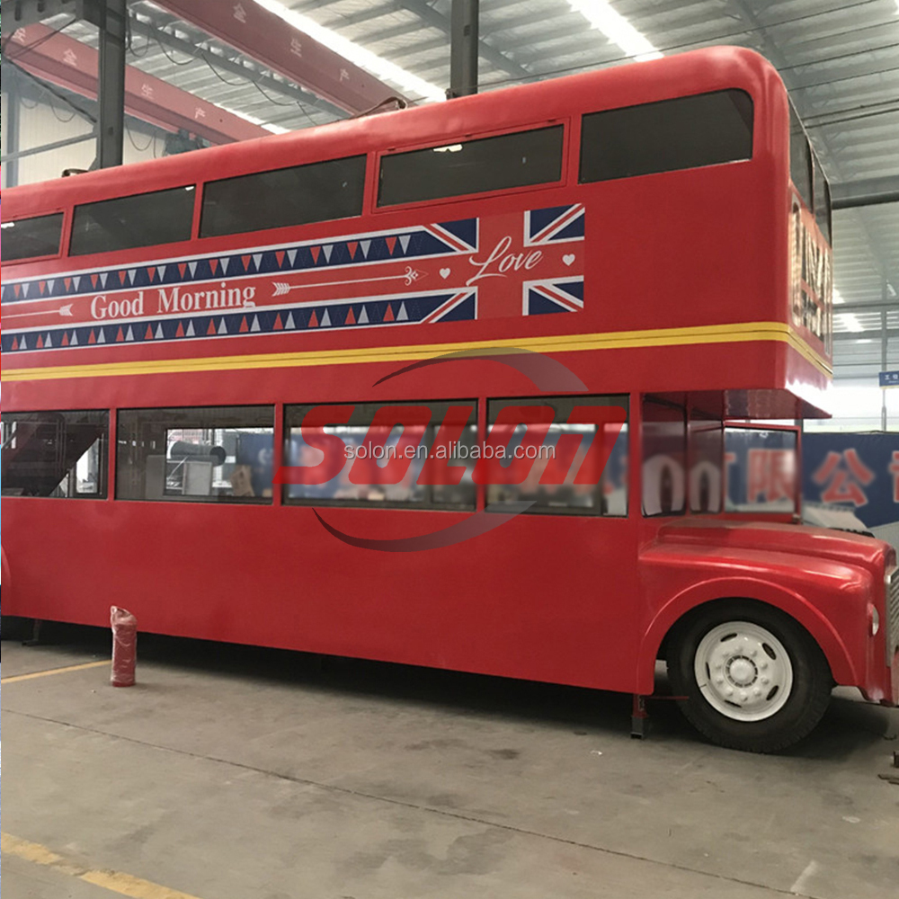 Hot selling cool type double decker bus truck to sell food popcorn food truck for sale