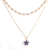 Hot Selling  Gold Beads Chain Necklace Gold Double-decker Star Pendant Necklace