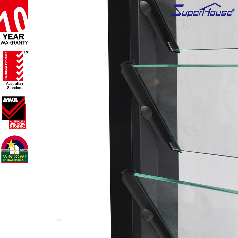 Aluminum frame fixed glass windows sound proof and weather proof fixed louver windows