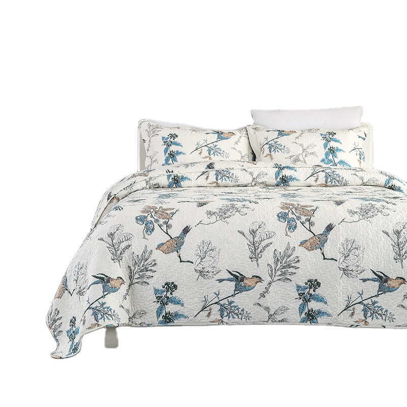 Bird Printed Cotton Fabric Quilted Bedspread 3PCS Bedding Set