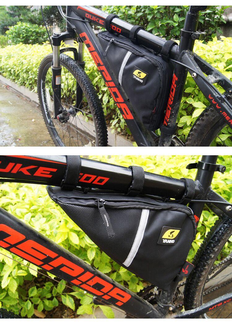 Detalles acerca de  /Sillín de Bicicleta Bici Triángulo Bolsa De Almacenamiento Bolsa De Ciclismo Ajustable Marco Decoración mostrar título original