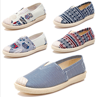 2019 hot sale Cheap comfortable casual slip on footwear white women fisherman espadrilles canvas custom jute sole shoes loafers