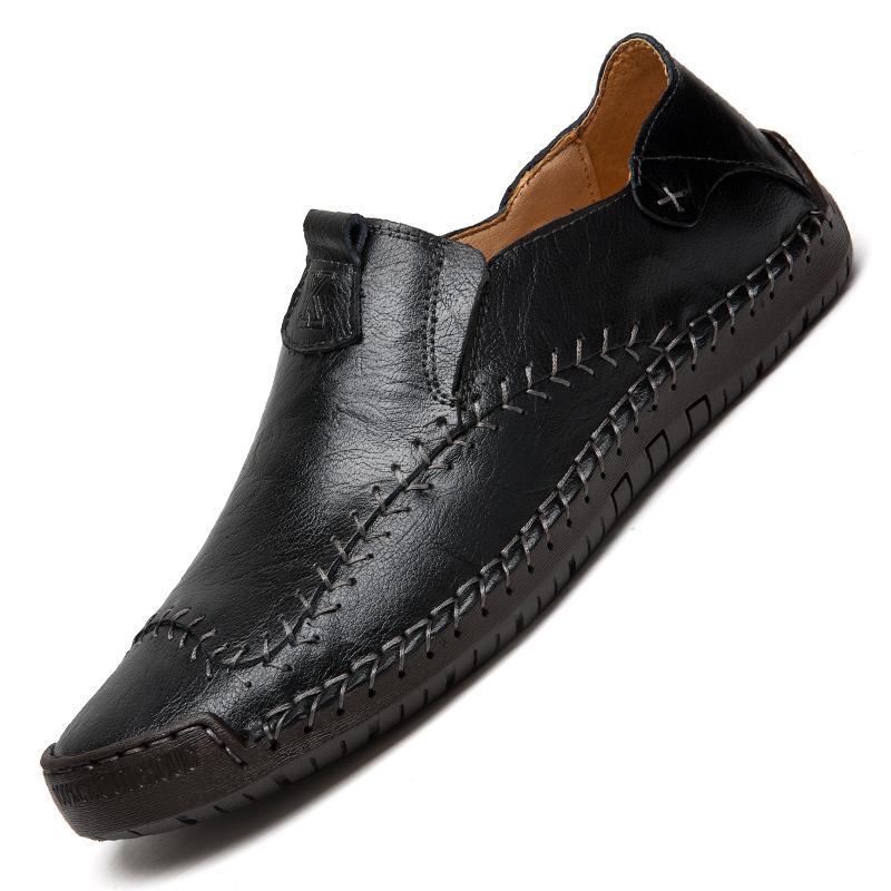 ขายร้อนหนัง Loafers ชายรอบ Toe Handmade Casual รองเท้าผู้ชายรองเท้าแบนรองเท้าขับรถรองเท้า Loafers PLUS ขนาด 47 48