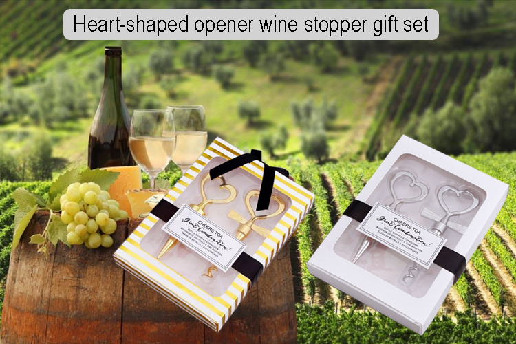 Wonderful Valentines Day gold color Heart Shaped Wine Stopper and bottle opener and christmas cap on top wine bottle stopper