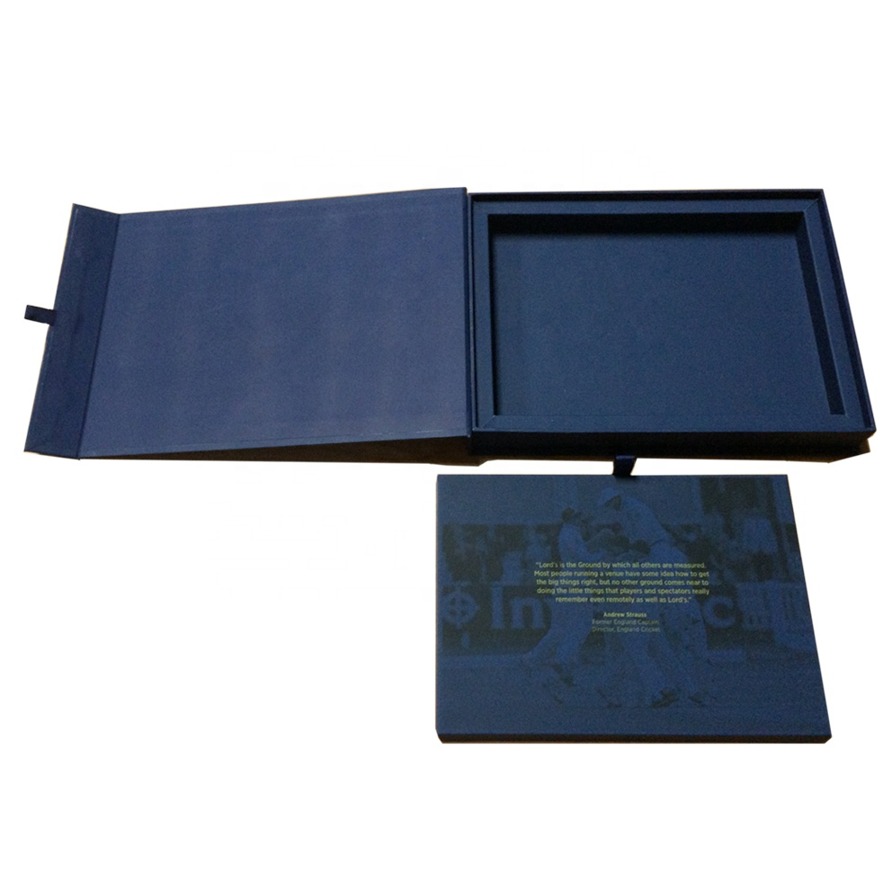 Blu forma di libro di cartone scatole regalo di imballaggio con un tocco morbido di laminazione per il pacchetto dalla Cina FSC diretta della fabbrica