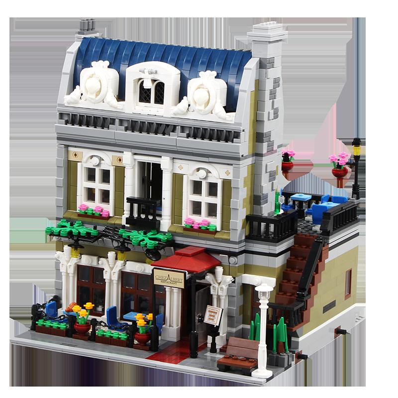 2469 + pcs इमारत ब्लॉकों 10243 प्लास्टिक सड़क दृश्य प्रजापति Parisian रेस्तरां शहर Diners आंकड़ा उपहार ब्लॉक खिलौने