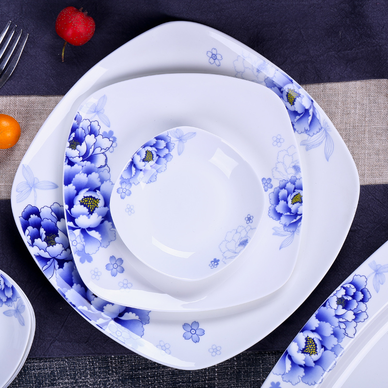 56pcs blue and white ceramic square plates dishes modern ceramic porcelain dinnerware sets home goods dinnerware sets