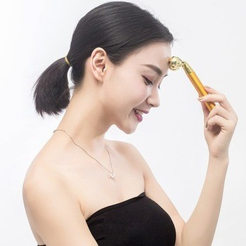 Beauty & Personal care electronic portable vibration 24K beauty facial massage 3D gold face roller