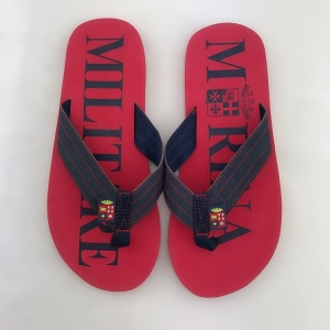 Best selling good quality red printed eva insole customized size wide cloth strap canvas ladies flip flops slippers