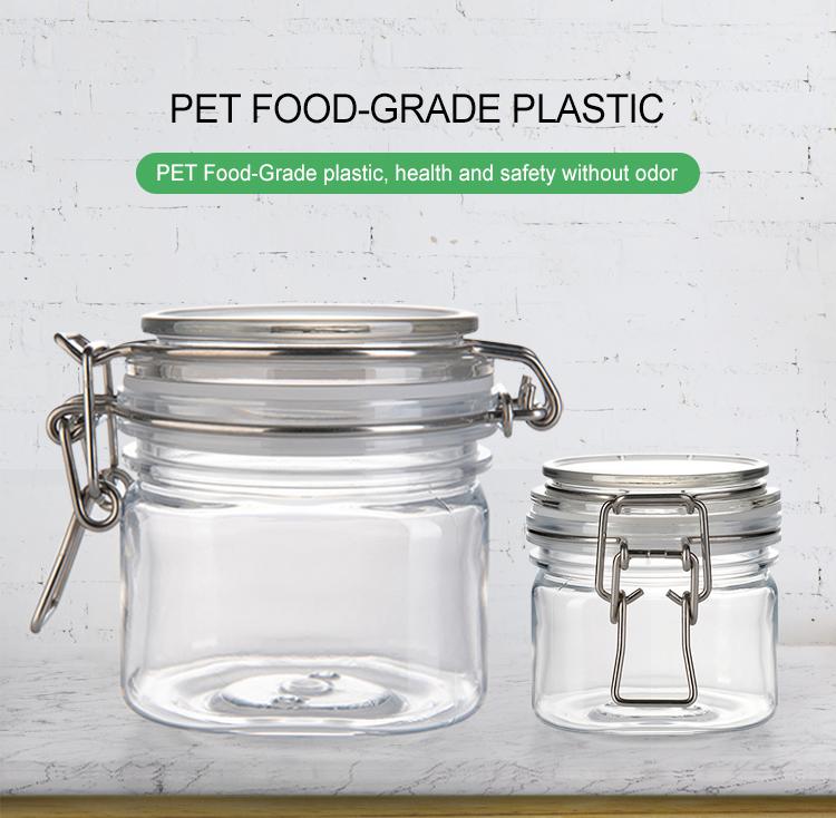 Hot Unique empty Round PET plastic bottles 450ml storage containers jars with plastic lids
