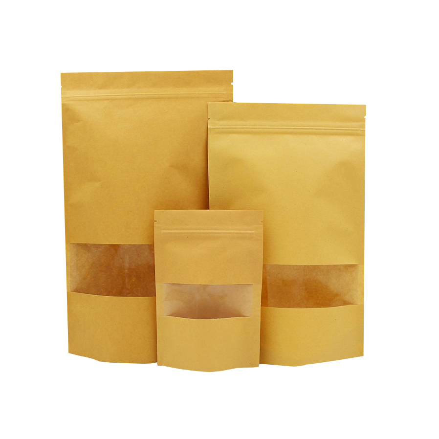 Wholesale Biodegradable Zipper Brown Kraft Paper Bags Tea/Food Packaging Stand Up Paper Ziplock Bag