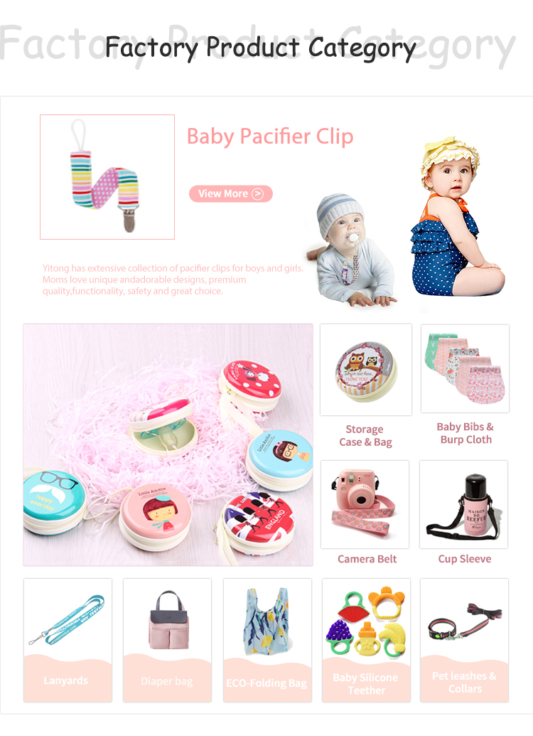 2019 NEW Hot Sale Baby Pacifier Clips Top quality polyester material leash rubber band plastic metal