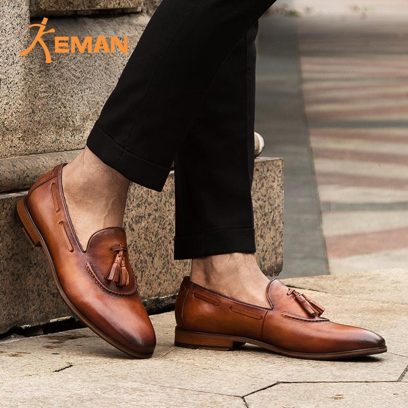 Guangzhou factory customized handmade luxury pure men dress leather shoes