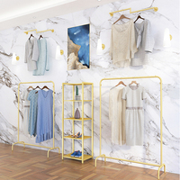 2019 modern customized retail cloth store interior design, hanging metal gold display stand racks for sale *