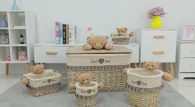 Korting Rieten Opslag Waterdichte Rotan Kids Wasmand Met Speelgoed Deksel