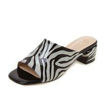 Женские босоножки с принтом зебры Taoffen, повседневные туфли размеров 33-43 на квадратном каблуке с открытым носком(Китай)