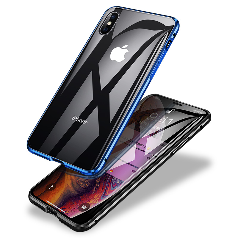 360 Double Side Glass Magnetic Case with Metal Frame for iphone x xs xr xs <strong>max</strong>