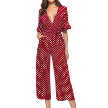 WONDER BEAUTY Fashion Dames Stip Tie Taille met Riem Tiered <span class=keywords><strong>Trompet</strong></span> Mouw Losse Jumpsuit