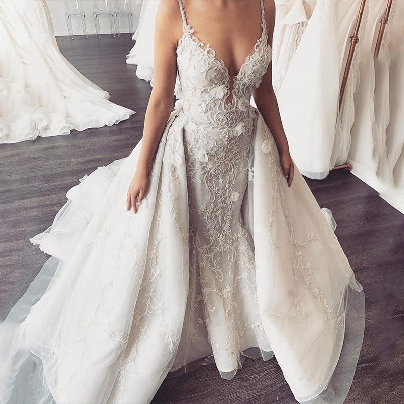 2019 Elegant Spaghetti V Neck Lace with 3D Flower Mermaid Wedding Dress with Removable Skirt
