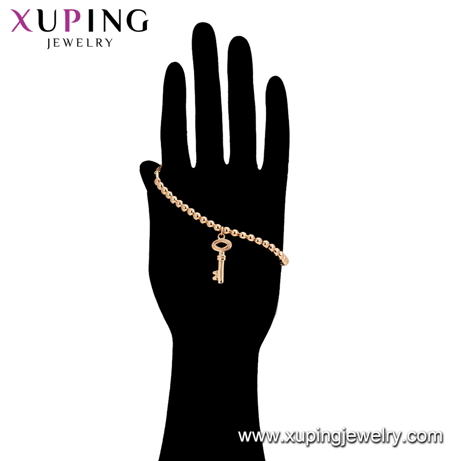 76768 Xuping 2019 cooper jewelry shaped alloy 18K Gold Plated charm bracelet bead