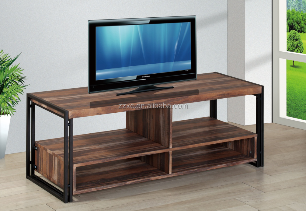 Rustic Wood Metal TV Desk Stand with Storage Shelf for Living Room