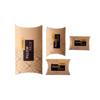 Custom recycled hair extension packaging gift kraft paper pillow box