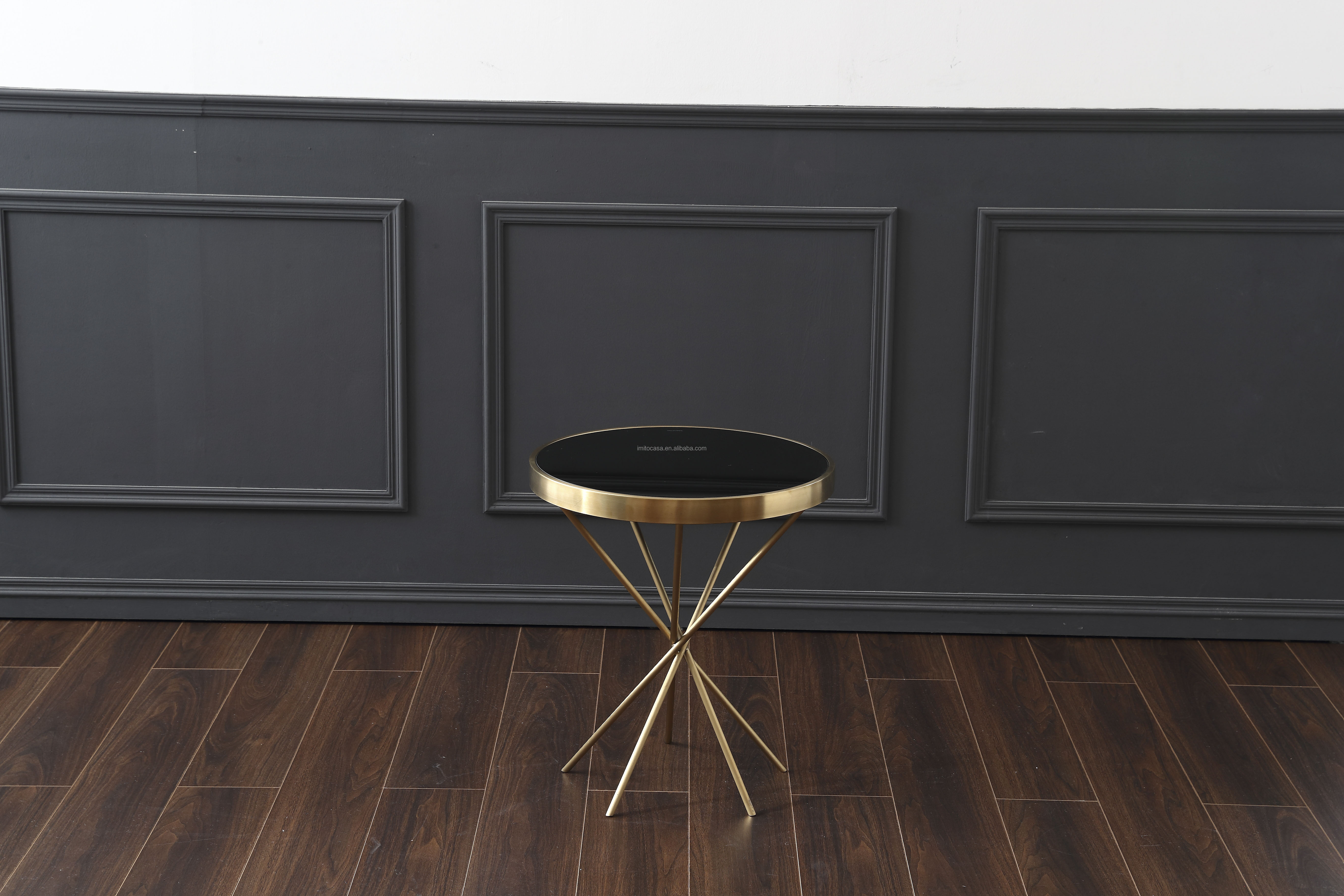 Italian New Design Living Room Furniture Stylish Stainless Steel Round Coffee Table Modern Golden Side Table With Black Top
